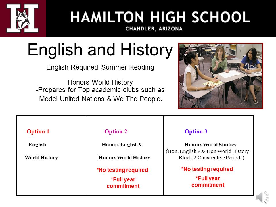 English and History English-Required Summer Reading Honors World History -Prepares for Top academic clubs such as Model United Nations & We The People.