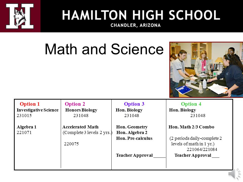 Math and Science Option 1 Option 2 Option 3 Option 4 Investigative Science Honors Biology Hon. Biology Hon. Biology 231015 231048 231048 231048 Algebr