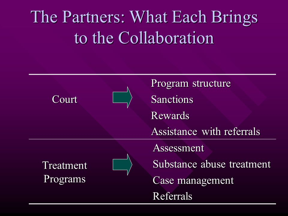 The Partners: What Each Brings to the Collaboration Court Program structure SanctionsRewards Assistance with referrals Treatment Programs Assessment Substance abuse treatment Case management Referrals