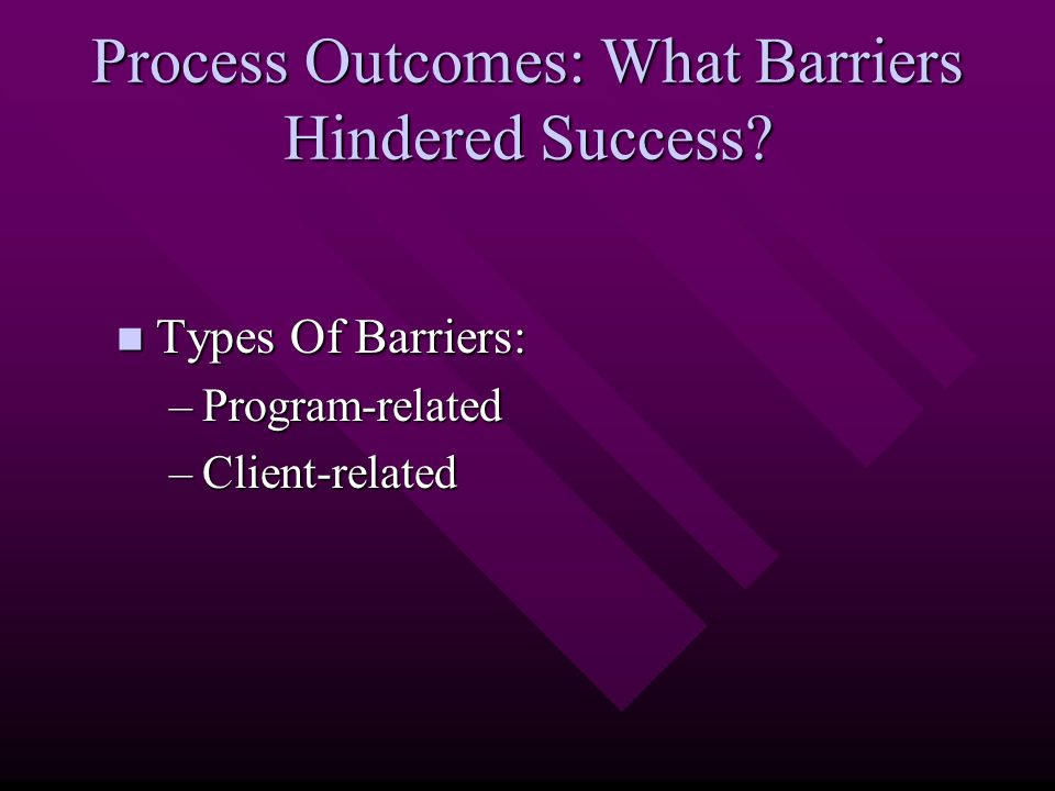Process Outcomes: What Barriers Hindered Success? Types Of Barriers: Types Of Barriers: –Program-related –Client-related