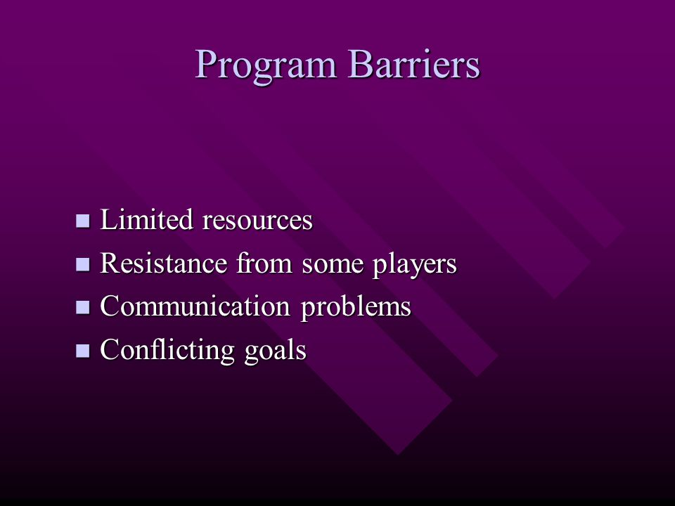Program Barriers Limited resources Limited resources Resistance from some players Resistance from some players Communication problems Communication pr