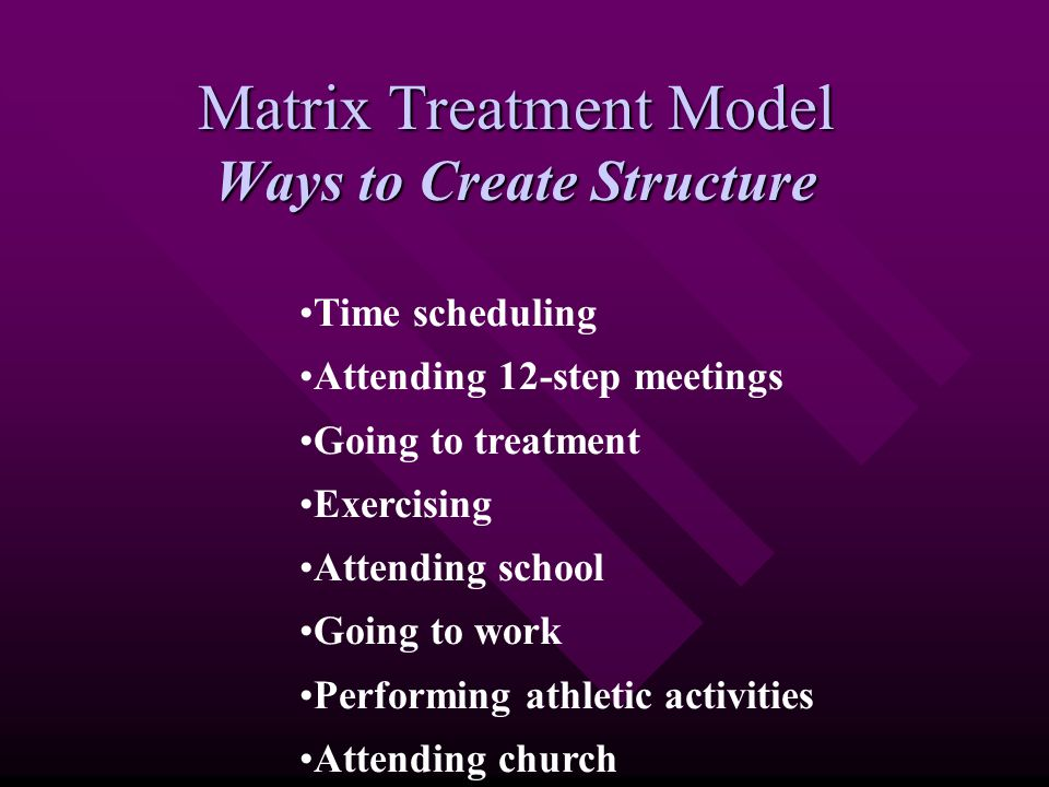 Matrix Treatment Model Ways to Create Structure Time scheduling Attending 12-step meetings Going to treatment Exercising Attending school Going to work Performing athletic activities Attending church