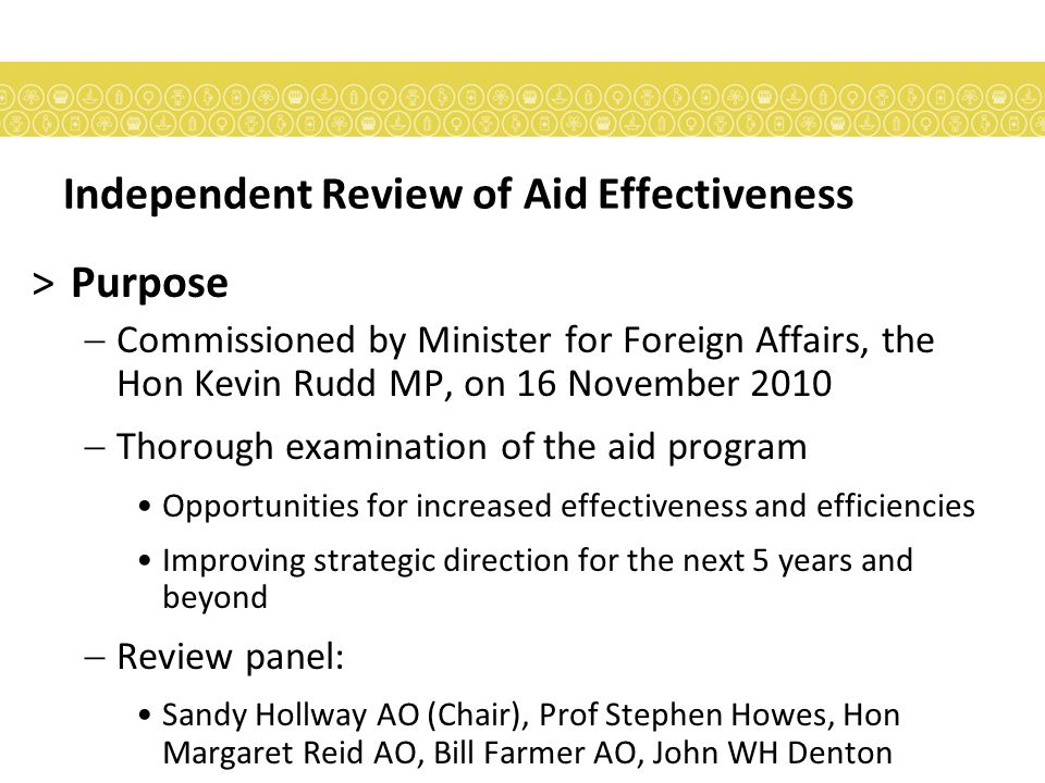 Independent Review of Aid Effectiveness >Method  Public submissions  Consultations  Australian government  Parliamentarians  AusAID staff  International discussions  Commissioned studies  Stocktake of other recent evaluations  Online media  Academic conference  Disability Leaders Forum  Academic literature