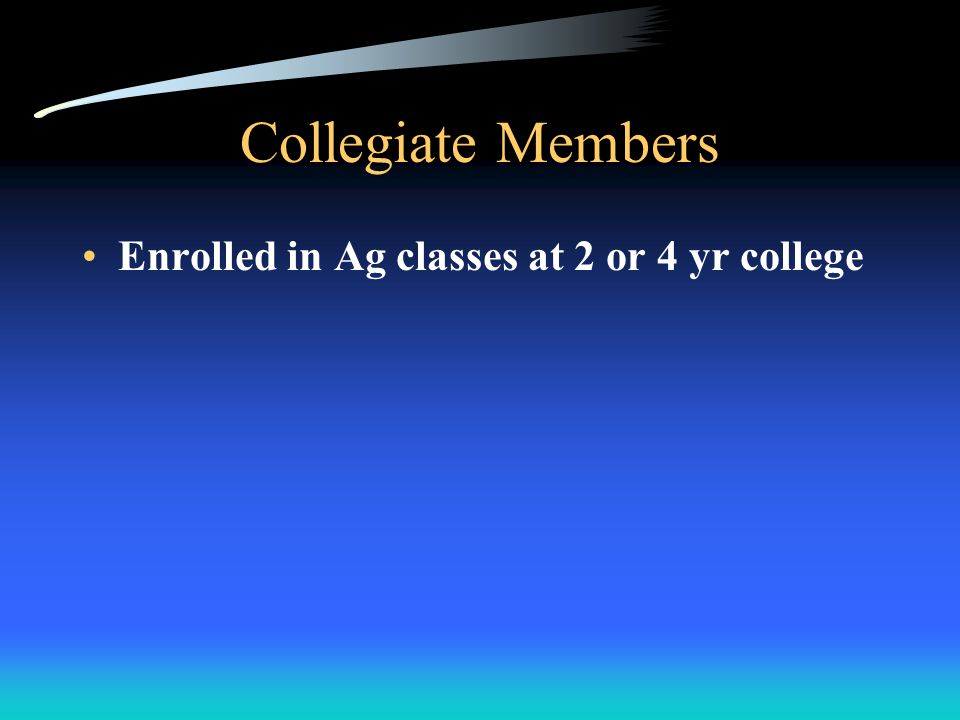 Active Members Those students enrolled in Ag course work and have paid dues