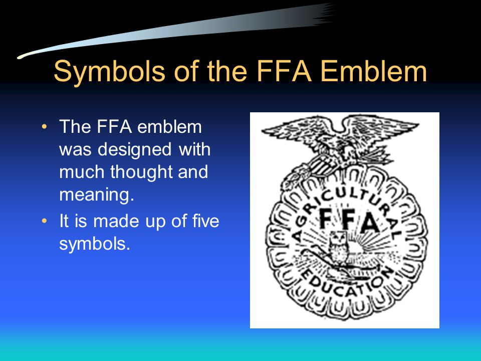 Colors of the FFA The colors of the FFA are National Blue and Corn Gold. Blue reminds us that the FFA is a national organization. Gold reminds us that