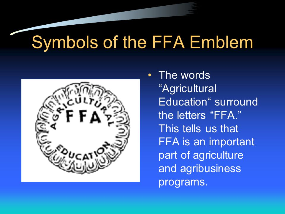 Symbols of the FFA Emblem The eagle. This is symbolic of the national scope of the FFA.