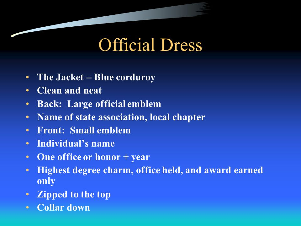 Official Dress Black pants / skirts White shirt / blouse Blue FFA tie / scarf Black shoes Black socks