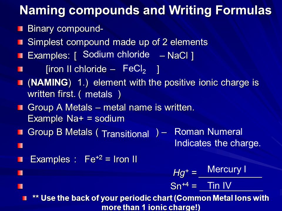Naming compounds and Writing Formulas Binary compound- Simplest compound made up of 2 elements Examples: [ – NaCl ] [iron II chloride – ] [iron II chloride – ] (NAMING) 1.) element with the positive ionic charge is written first.