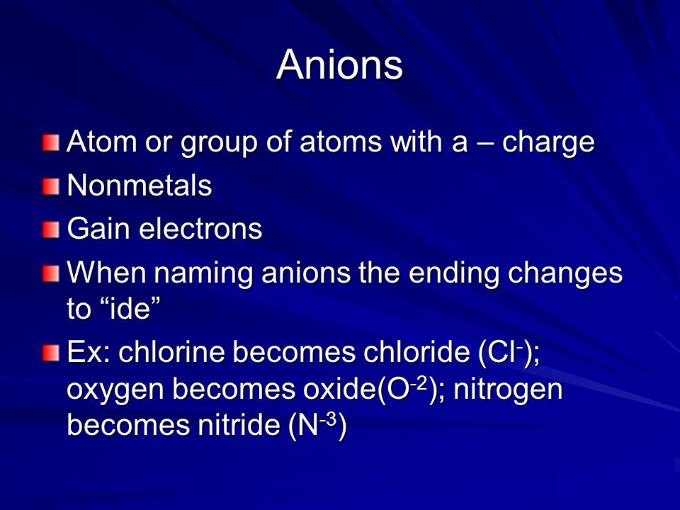Anions Atom or group of atoms with a – charge Nonmetals Gain electrons When naming anions the ending changes to ide Ex: chlorine becomes chloride (Cl - ); oxygen becomes oxide(O -2 ); nitrogen becomes nitride (N -3 )