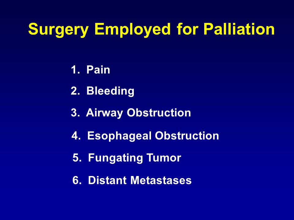 2. Bleeding Surgery Employed for Palliation 3. Airway Obstruction 1.