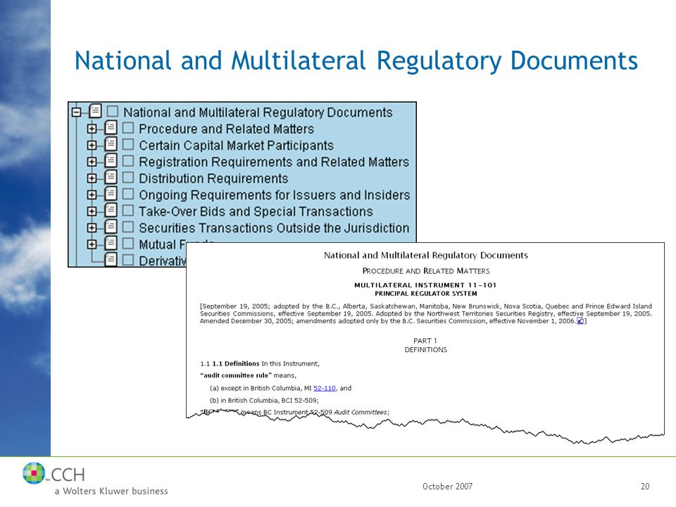 October 200720 National and Multilateral Regulatory Documents