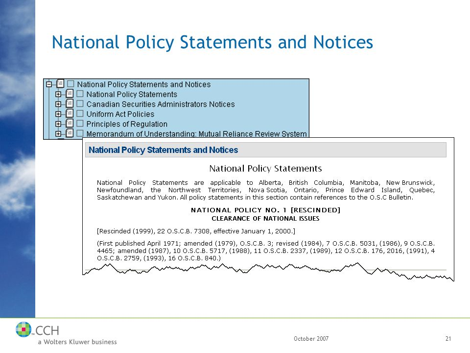 October 200721 National Policy Statements and Notices