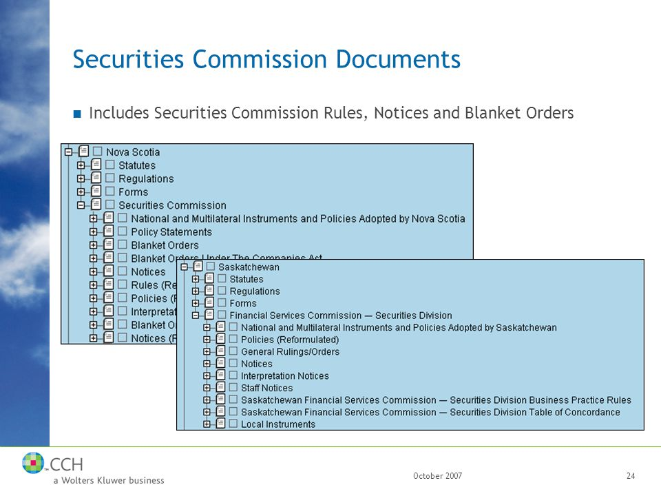 October 200724 Securities Commission Documents Includes Securities Commission Rules, Notices and Blanket Orders