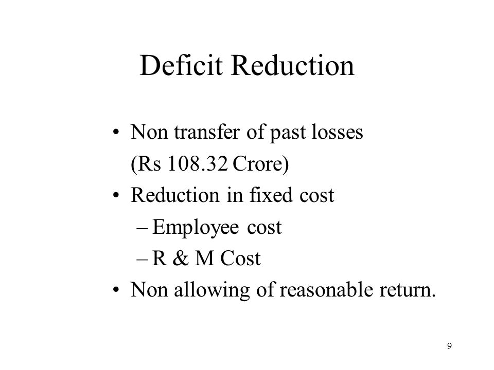 10 Deficit Reduction (Contd…) Reducing the interest on loan.