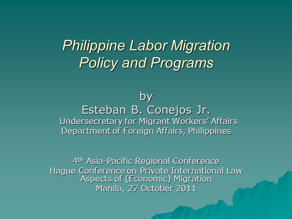 Philippine Labor Migration Policy and Programs by Esteban B. Conejos Jr. Undersecretary for Migrant Workers' Affairs Undersecretary for Migrant Worker