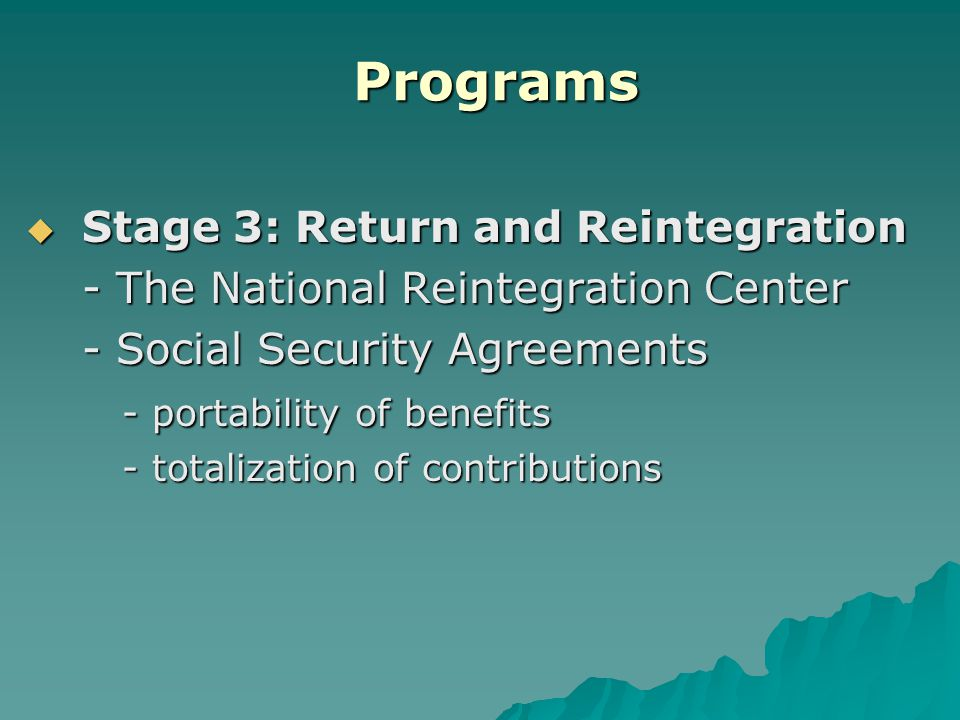 Programs  Stage 3: Return and Reintegration - The National Reintegration Center - Social Security Agreements - portability of benefits - totalization of contributions