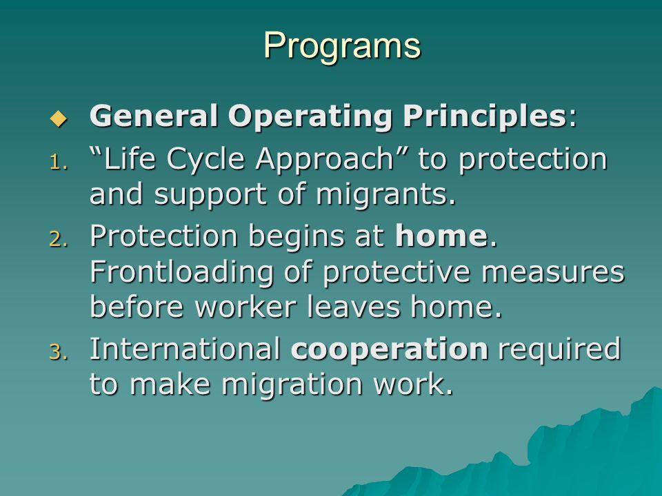 Programs  General Operating Principles: 1.