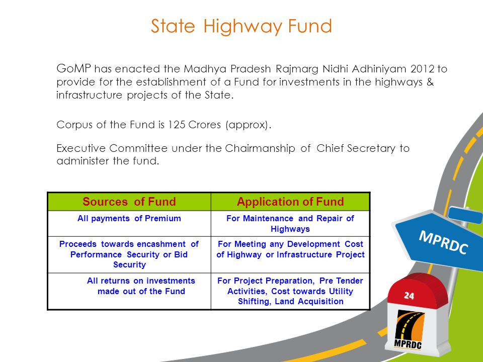 State Highway Fund MPRDC 24 GoMP has enacted the Madhya Pradesh Rajmarg Nidhi Adhiniyam 2012 to provide for the establishment of a Fund for investments in the highways & infrastructure projects of the State.
