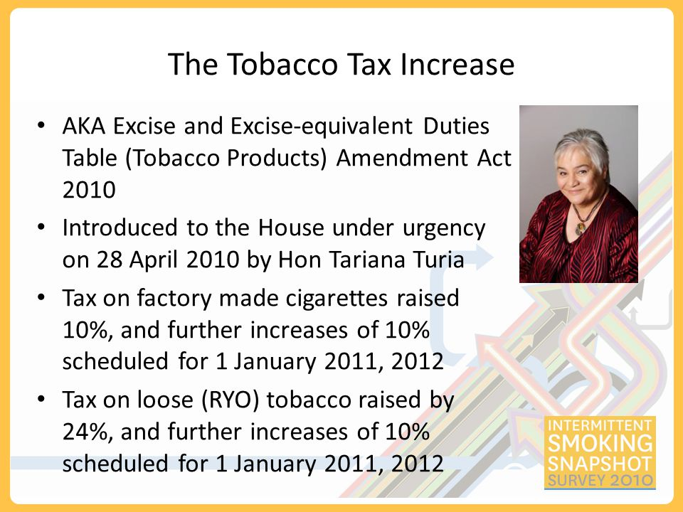 Excise and Excise-equivalent Duties Table (Tobacco Products) Amendment Act 2010 increasing the price of tobacco through higher taxes is the single most effective way to decrease consumption and encourage tobacco users to quit - Dr Margaret Chan, Director General of the World Health Organisation, Statement made at the launch of the WHO Report on the Global Tobacco Epidemic, 2008 There are only a few matters before this House on which one could stand with one's hand on one's heart and declare that this was a life-and-death debate.