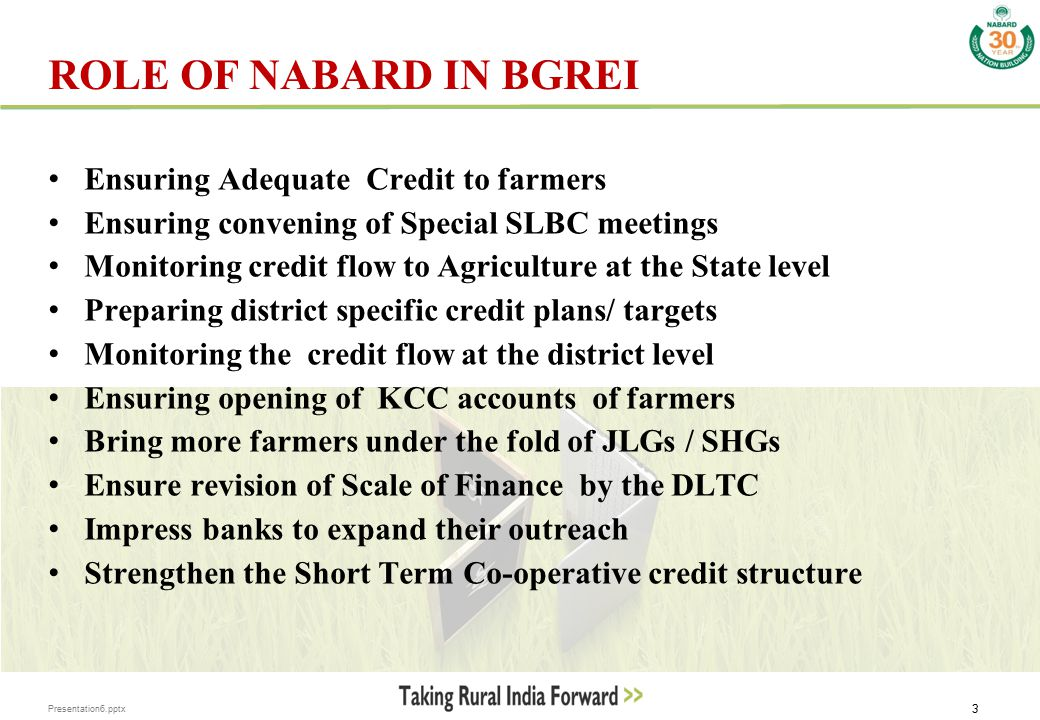 Presentation6.pptx 3 ROLE OF NABARD IN BGREI Ensuring Adequate Credit to farmers Ensuring convening of Special SLBC meetings Monitoring credit flow to