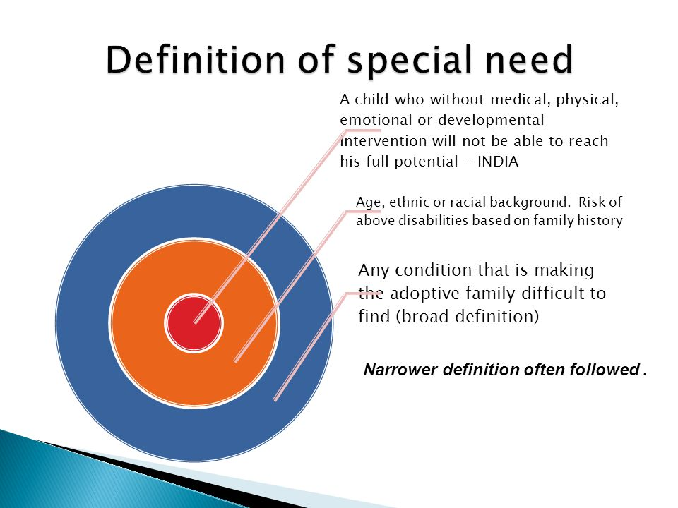 A child who without medical, physical, emotional or developmental intervention will not be able to reach his full potential - INDIA Age, ethnic or rac