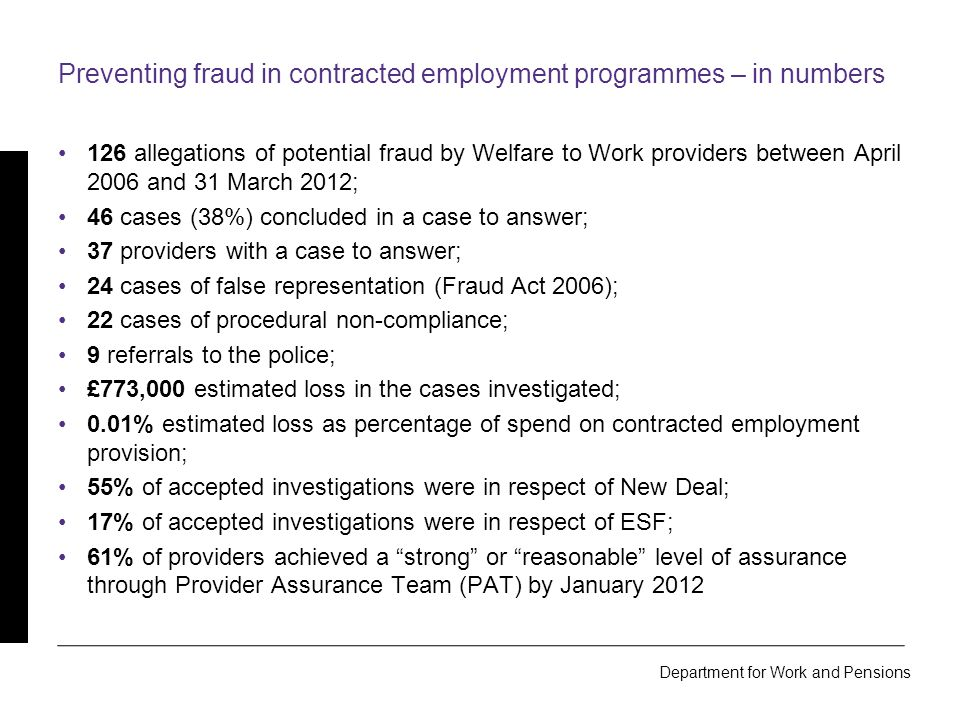 Department for Work and Pensions The Fraud Triangle