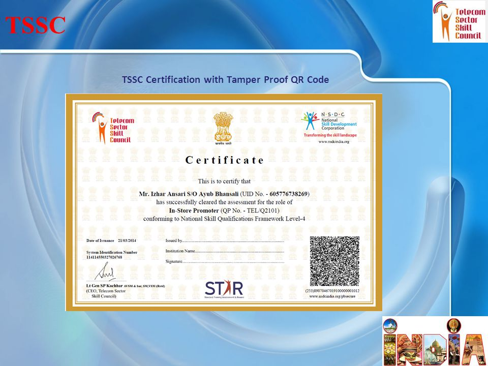 TSSC Certification with Tamper Proof QR Code 24 TSSC