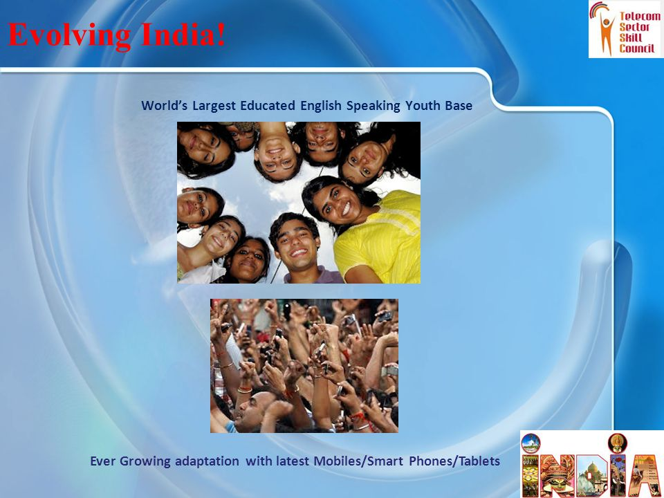 World's Largest Educated English Speaking Youth Base 5 Evolving India! Ever Growing adaptation with latest Mobiles/Smart Phones/Tablets