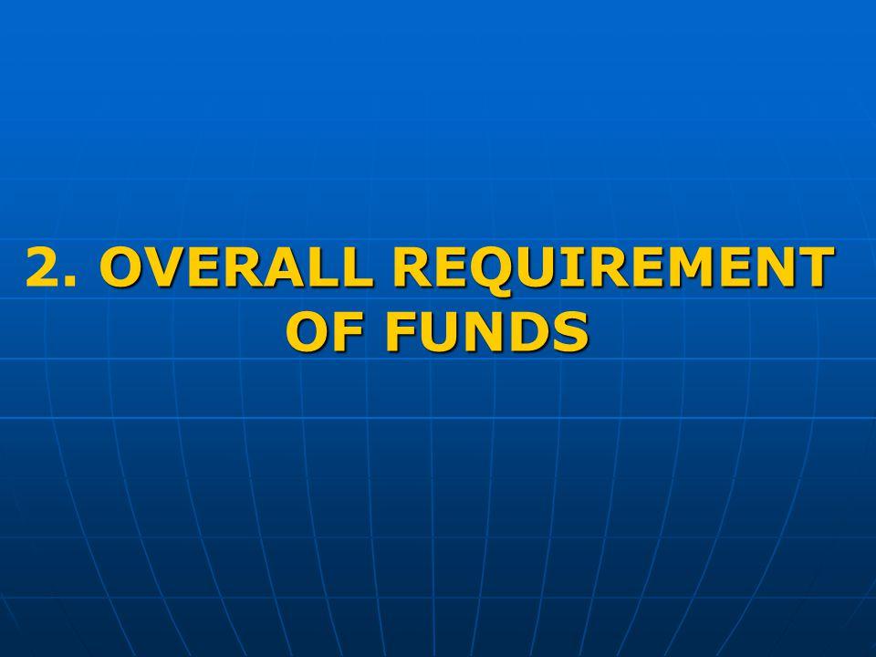OVERALL REQUIREMENT 2. OVERALL REQUIREMENT OF FUNDS