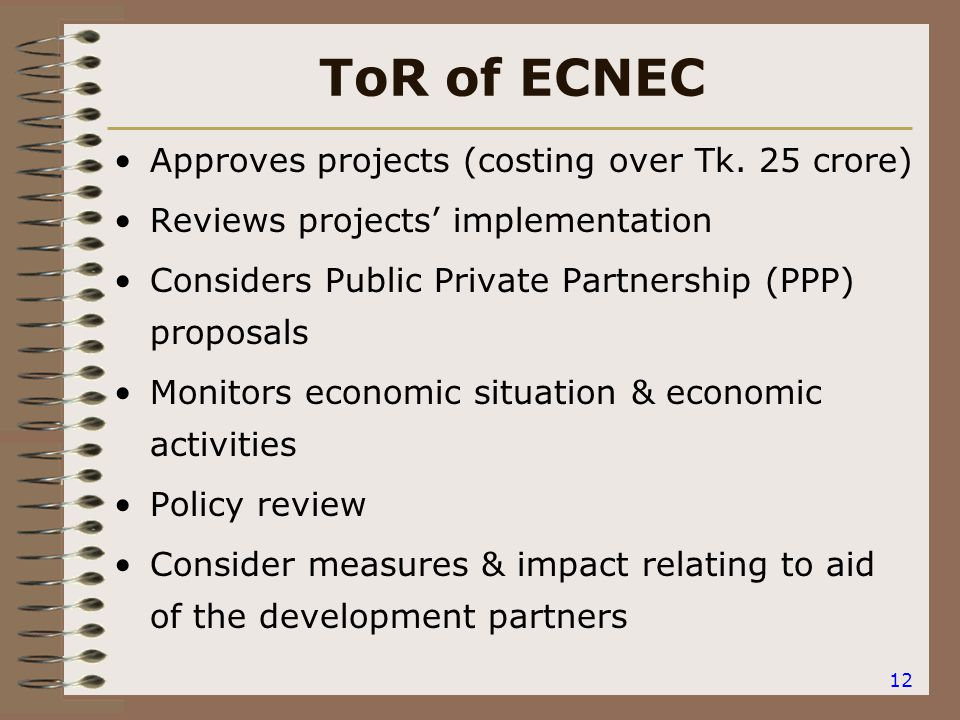 12 ToR of ECNEC Approves projects (costing over Tk.