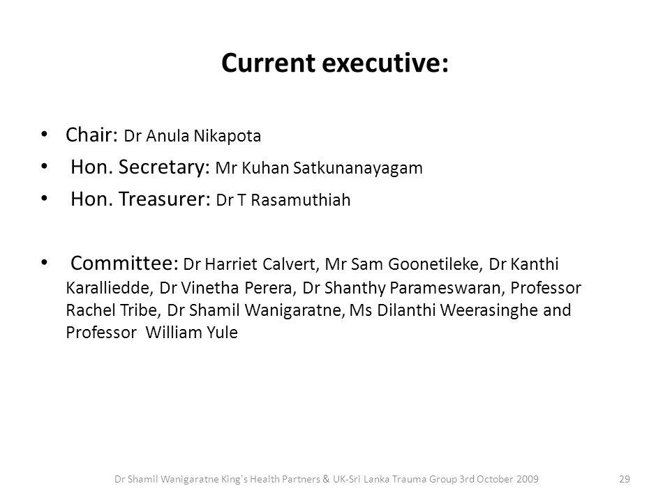 Current executive: Chair: Dr Anula Nikapota Hon. Secretary: Mr Kuhan Satkunanayagam Hon. Treasurer: Dr T Rasamuthiah Committee: Dr Harriet Calvert, Mr