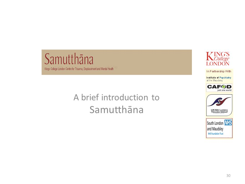 A brief introduction to Samutthāna 30