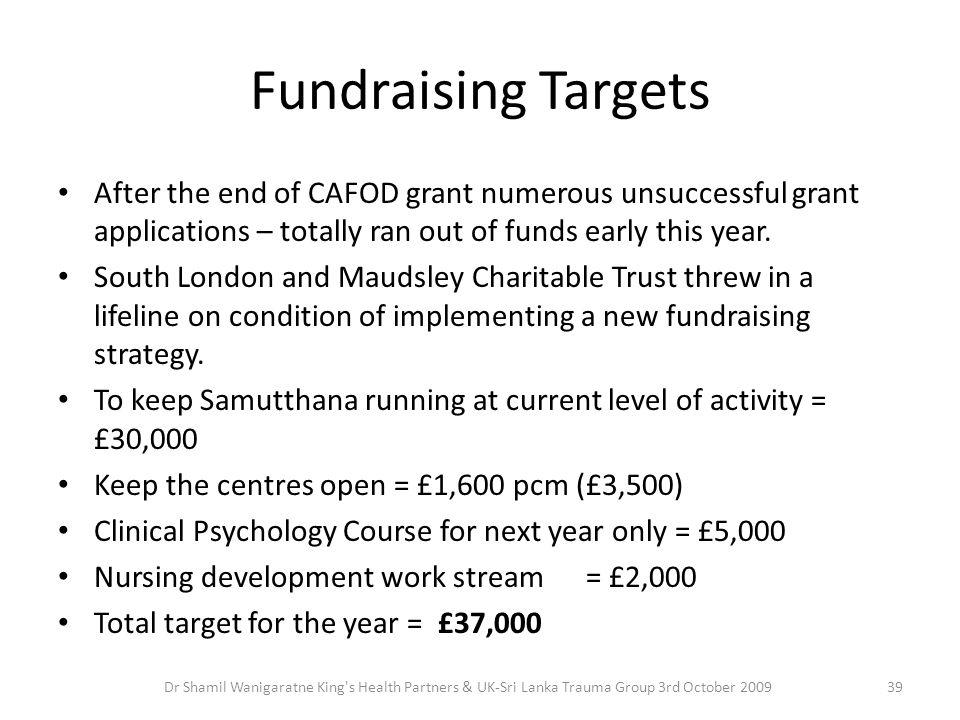 Fundraising Targets After the end of CAFOD grant numerous unsuccessful grant applications – totally ran out of funds early this year.