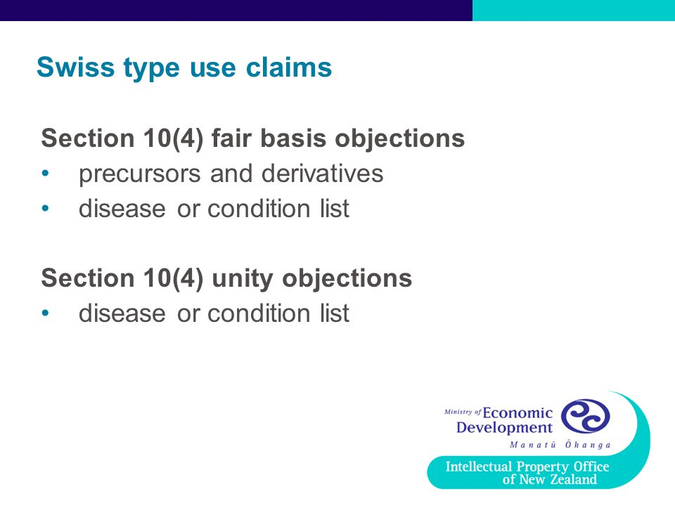Swiss type use claims Section 10(4) fair basis objections precursors and derivatives disease or condition list Section 10(4) unity objections disease or condition list