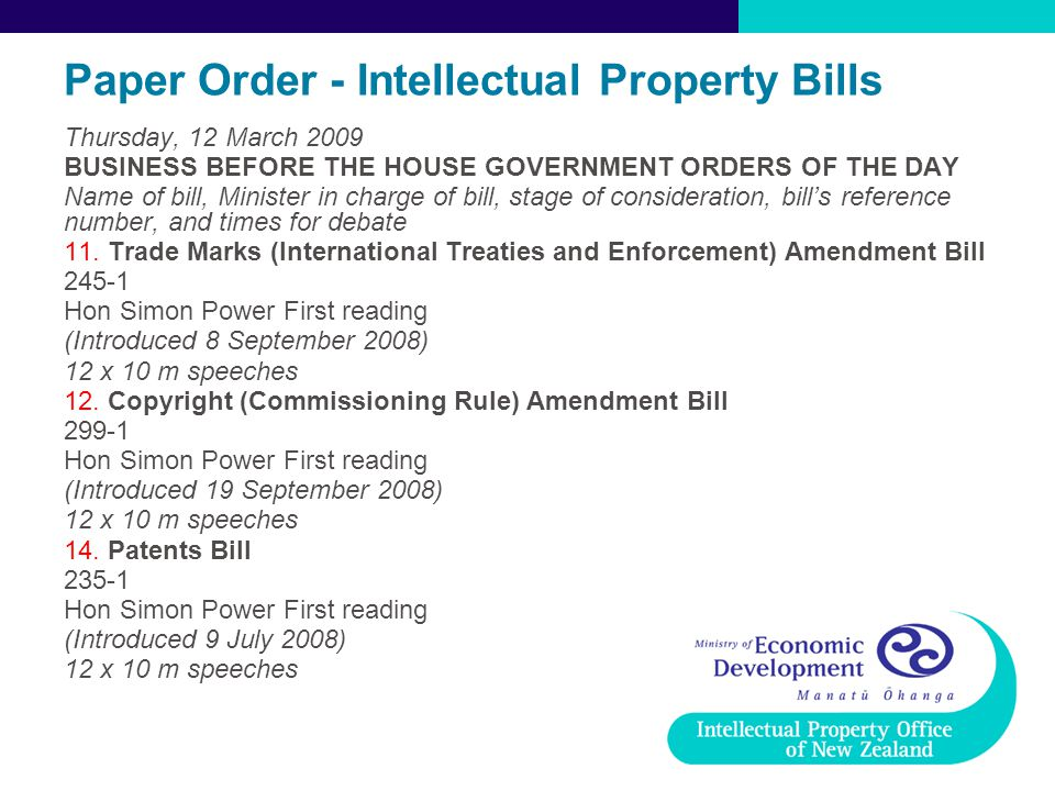 Paper Order - Intellectual Property Bills Thursday, 12 March 2009 BUSINESS BEFORE THE HOUSE GOVERNMENT ORDERS OF THE DAY Name of bill, Minister in charge of bill, stage of consideration, bill's reference number, and times for debate 11.