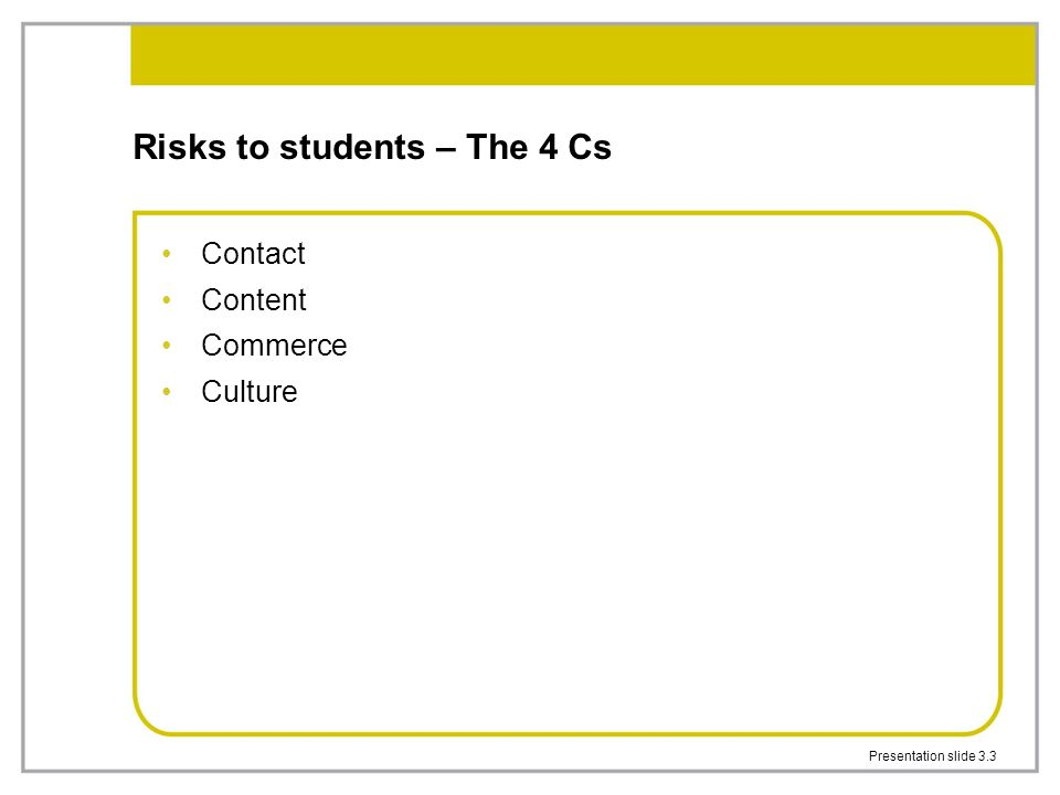 Presentation slide 3.3 Risks to students – The 4 Cs Contact Content Commerce Culture