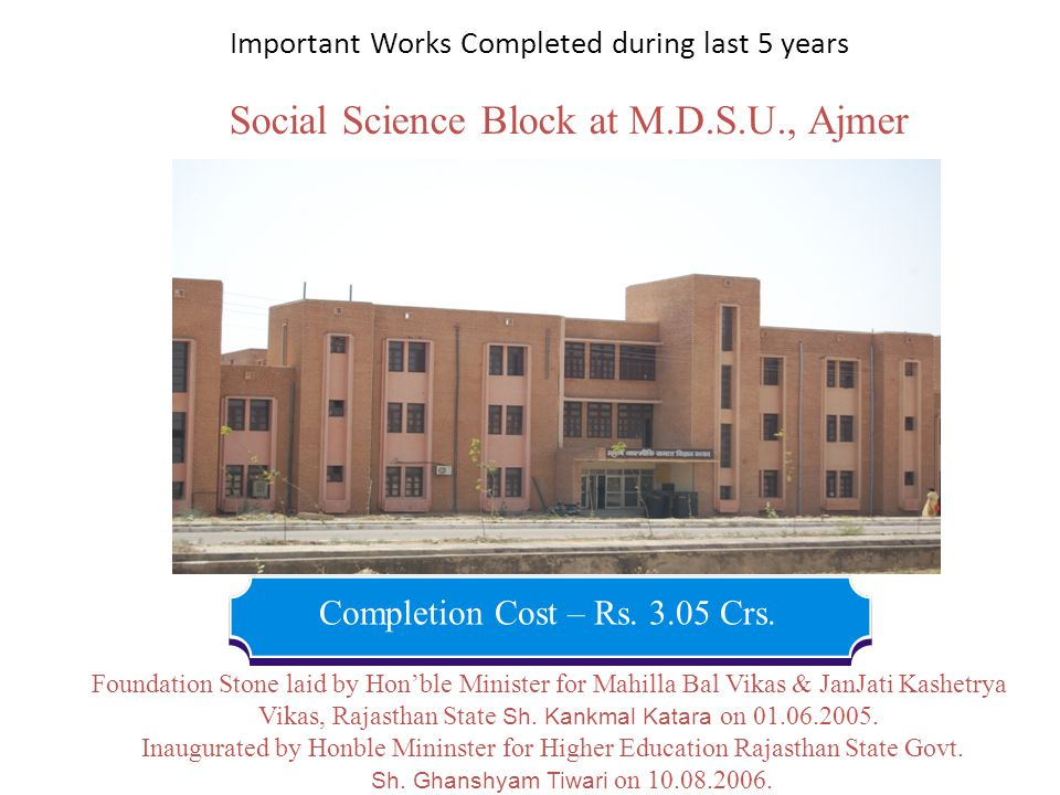 Important Works Completed during last 5 years Social Science Block at M.D.S.U., Ajmer Completion Cost – Rs. 3.05 Crs. Inaugurated by Honble Mininster