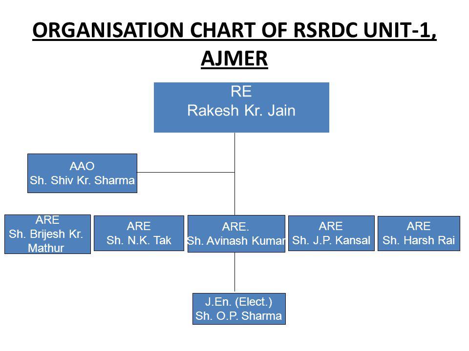 ORGANISATION CHART OF RSRDC UNIT-1, AJMER RE Rakesh Kr. Jain AAO Sh. Shiv Kr. Sharma ARE Sh. Brijesh Kr. Mathur ARE Sh. N.K. Tak ARE. Sh. Avinash Kuma