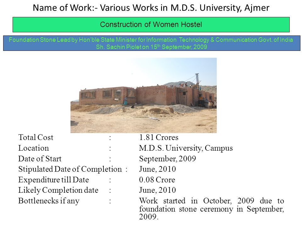 Name of Work:- Various Works in M.D.S. University, Ajmer Construction of Women Hostel Total Cost:1.81 Crores Location:M.D.S. University, Campus Date o