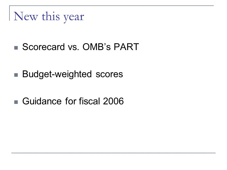 New this year Scorecard vs. OMB's PART Budget-weighted scores Guidance for fiscal 2006