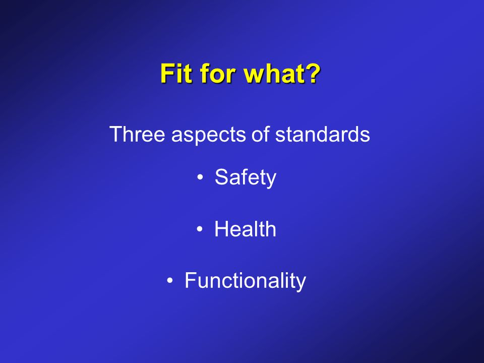 Fit for what? Fit for what? Three aspects of standards Safety Health Functionality