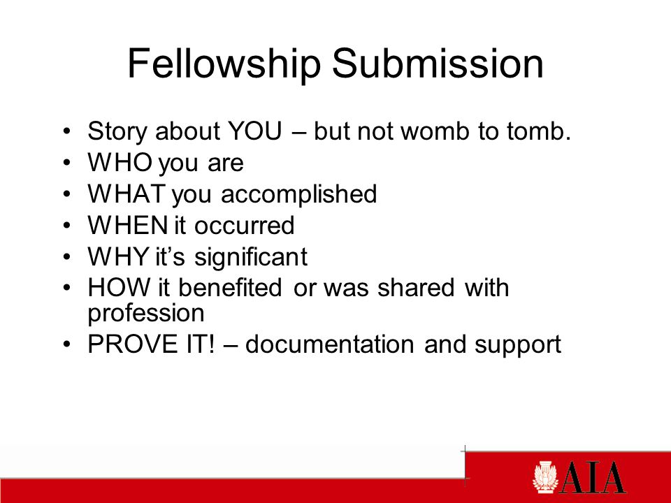 Fellowship Submission Story about YOU – but not womb to tomb.