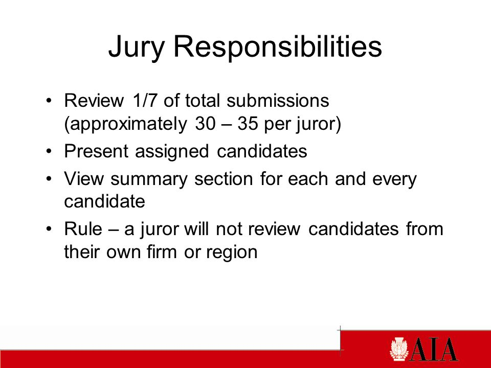 Jury Responsibilities Review 1/7 of total submissions (approximately 30 – 35 per juror) Present assigned candidates View summary section for each and every candidate Rule – a juror will not review candidates from their own firm or region