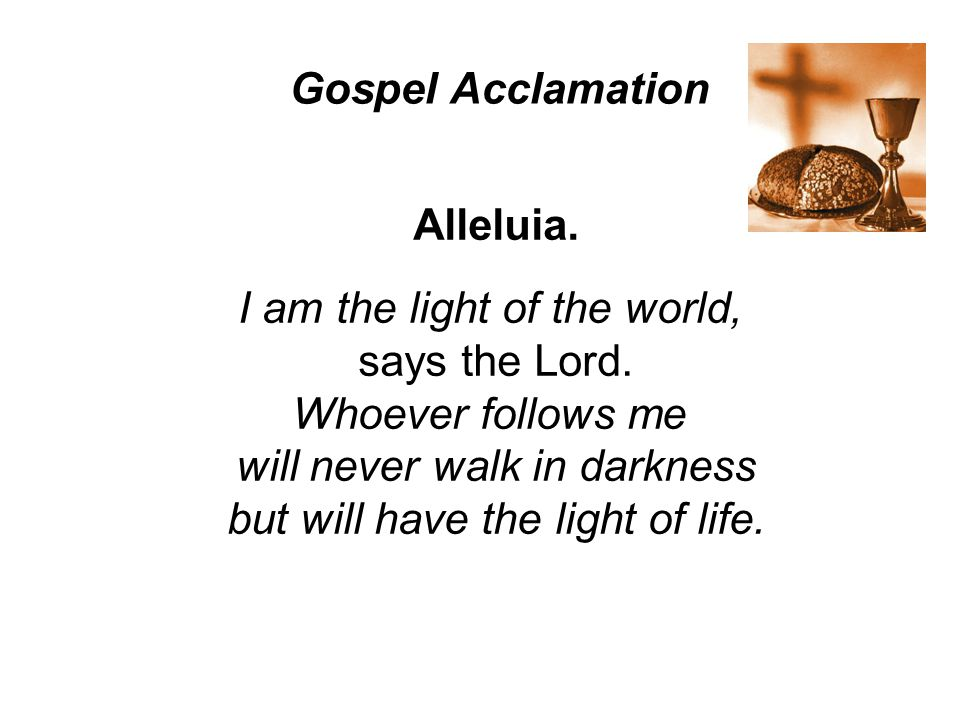 Alleluia.I am the light of the world, says the Lord.