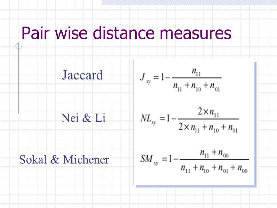Pair wise distance measures Jaccard Nei & Li Sokal & Michener