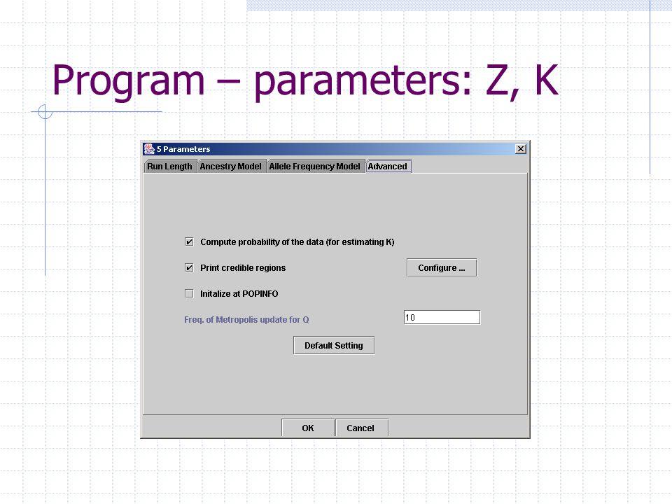 Program – parameters: Z, K