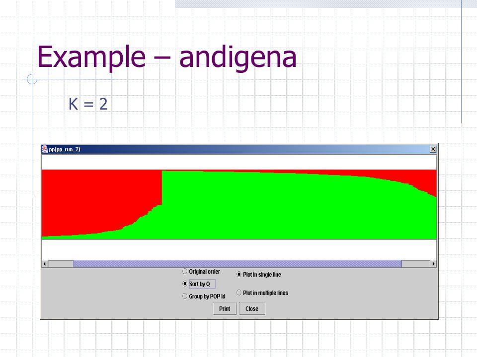 Example – andigena K = 2