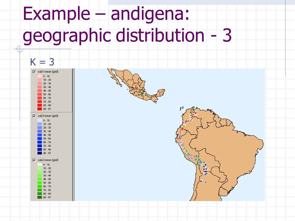 Example – andigena: geographic distribution - 3 K = 3