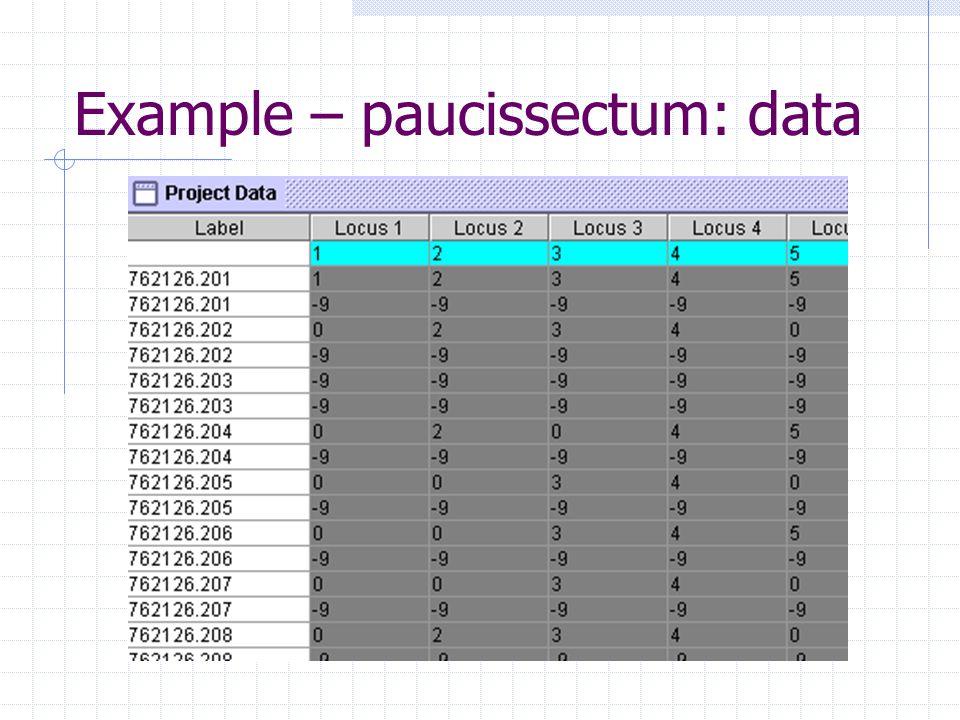 Example – paucissectum: data