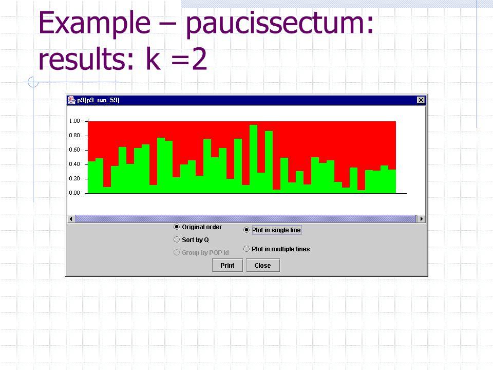 Example – paucissectum: results: k =2
